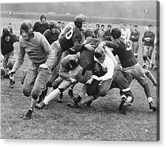Tackled In The Football Line Acrylic Print by Underwood Archives