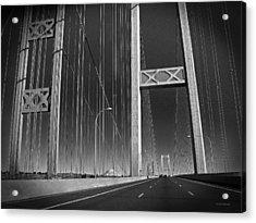 Tacoma Narrows Bridge B W Acrylic Print by Connie Fox