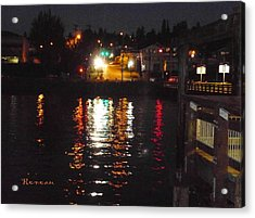 Tacoma Waterfront At Night On Ruston Way Acrylic Print
