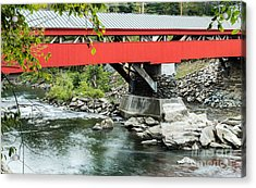 Taftsville Covered Bridge Vermont Acrylic Print by Edward Fielding