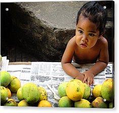 Tahitian Baby In Market Acrylic Print