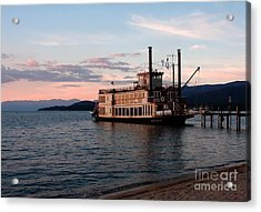 Acrylic Print featuring the photograph Tahoe Queen Riverboat On Lake Tahoe California by Paul Topp