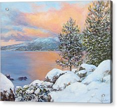 Tahoe Winter Colors Acrylic Print by Donna Tucker