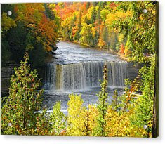 Tahquamenon Falls In October Acrylic Print by Keith Stokes