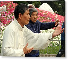 Tai Chi And Flowers Acrylic Print