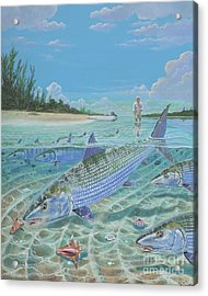 Tailing Bonefish In003 Acrylic Print by Carey Chen