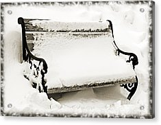 Take A Seat  And Chill Out - Park Bench - Winter - Snow Storm Bw 2 Acrylic Print by Andee Design