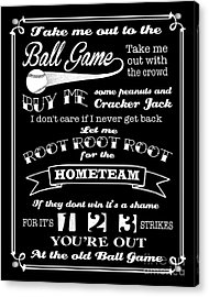 Take Me Out To The Ball Game - Black Background Acrylic Print