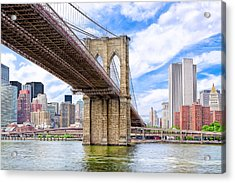 Take The Brooklyn Bridge Into Manhattan Acrylic Print by Mark E Tisdale