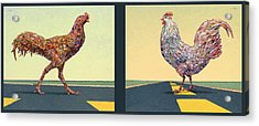 Tale Of Two Chickens Acrylic Print by James W Johnson