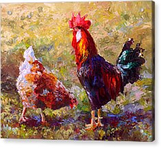 Rooster And Hen Farm Art Chicken Painting  Acrylic Print