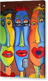 Acrylic Print featuring the painting Talking Heads by Vickie Scarlett-Fisher