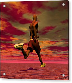 Tall Runner Acrylic Print by Walter Oliver Neal