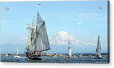 Tall Ship And Mount Rainier Acrylic Print