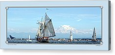 Tall Ship And Mt. Rainier Acrylic Print
