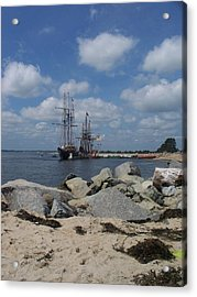 Tall Ships In The Distance Acrylic Print by Rosanne Bartlett