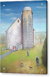Acrylic Print featuring the painting Tall Silo by Oz Freedgood