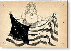 Acrylic Print featuring the drawing Tammy And The Flag by Reynold Jay
