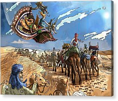 Acrylic Print featuring the painting Tammy And The Flying Carpet by Reynold Jay