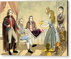 Acrylic Print featuring the painting Tammy Meets Betsy Ross And George Washington by Reynold Jay