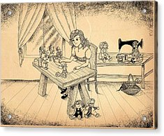 Acrylic Print featuring the drawing Tammy Meets Alfred The Mouse by Reynold Jay