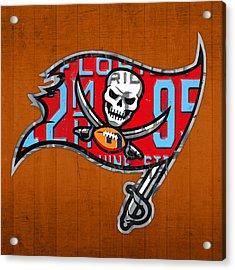 Tampa Bay Buccaneers Football Team Retro Logo Florida License Plate Art Acrylic Print