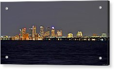 Acrylic Print featuring the photograph Tampa City Skyline At Night 7 November 2012 by Jeff at JSJ Photography