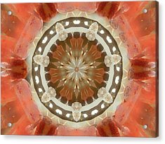 Tangerine Lemurian Seed Crystal Mandala Acrylic Print