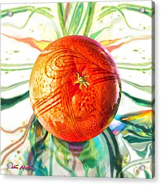 Acrylic Print featuring the painting Tangerine Orb Nouveau by Robin Moline