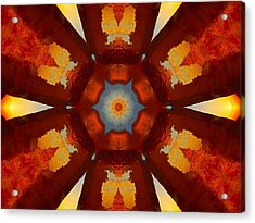 Tangerine Sunset Crystal Mandala Acrylic Print