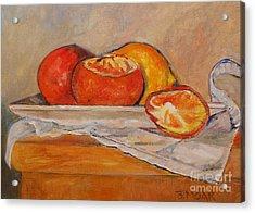 Tangerines With Lemon Acrylic Print by Barbara Moak