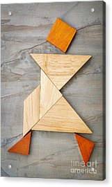 Tangram Walking Figure Acrylic Print