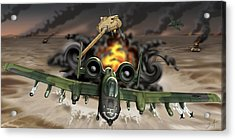 Tank Plinking With The A-10 Acrylic Print by Barry Munden