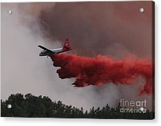 Acrylic Print featuring the photograph Tanker 07 Drops On The Myrtle Fire by Bill Gabbert