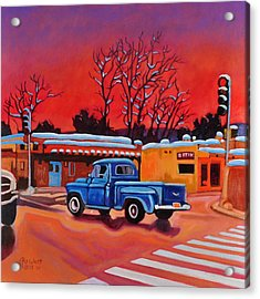 Acrylic Print featuring the painting Taos Blue Truck At Dusk by Art West