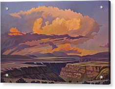 Acrylic Print featuring the painting Taos Gorge - Pastel Sky by Art James West