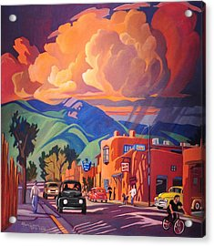 Acrylic Print featuring the painting Taos Inn Monsoon by Art James West