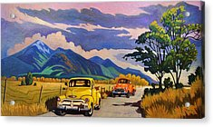 Acrylic Print featuring the painting Taos Joy Ride With Yellow And Orange Trucks by Art West