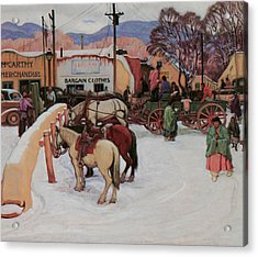 Taos Plaza Winter Acrylic Print by E Martin Hennings