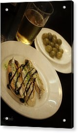 Tapas In Seville Acrylic Print by Mary Machare