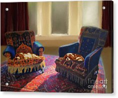 Tapestry Chairs Daydreaming Cavaliers Acrylic Print by Magna Carta