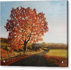 Acrylic Print featuring the painting Taras Golden Tree by Sandra Nardone