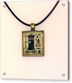 Tardis Faux Artifact Miniature Painting On Papyrus Mounted In Pendant Acrylic Print by Pet Serrano