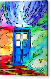 Tardis Illustration Edition Acrylic Print by Justin Moore