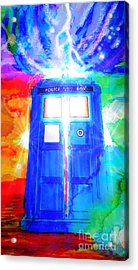 Tardis Acrylic Print by Justin Moore