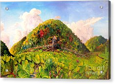 Acrylic Print featuring the painting Taro Garden Of Papua by Jason Sentuf