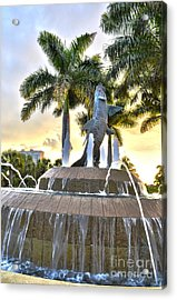 Acrylic Print featuring the photograph Tarpon Fountain In Cape Coral Florida by Timothy Lowry