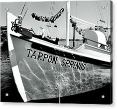 Tarpon Springs Spongeboat Black And White Acrylic Print by Benjamin Yeager