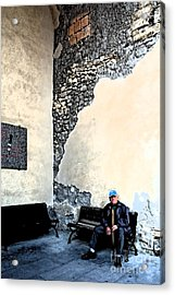 Tarquinia Senior Sitting On The Bench Acrylic Print