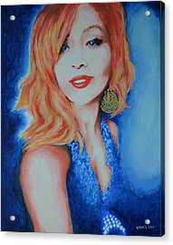 Tatiana With Pearls And Green Earring Acrylic Print by Victor Minca
